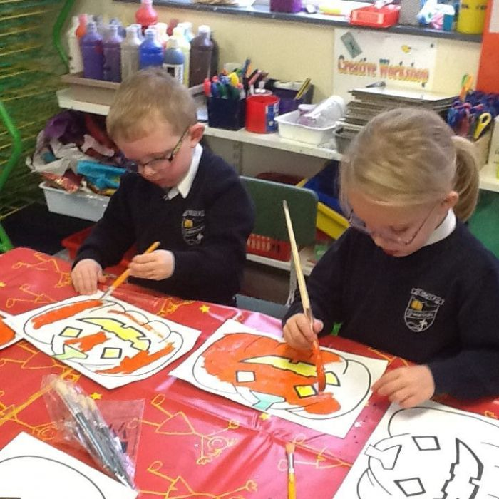 Busy painting our pumpkins!