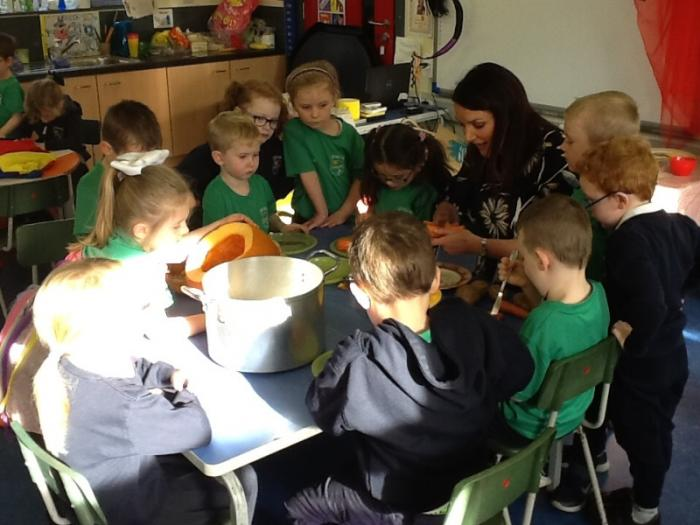 We are making pumpkin soup!