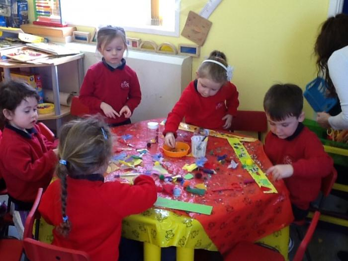 We used lots of materials to collage.